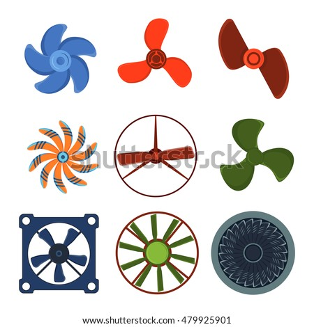 turbines icons propeller fan