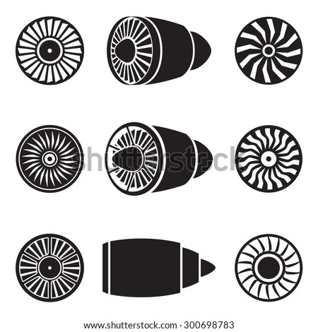 Turbines icons set. Technology aircraft, engine power, blade and fan. Vector illustration