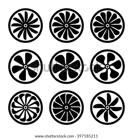Turbines Icons Set. Turbojet Engine Power. Vector