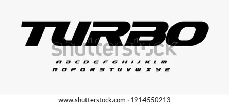 Turbo dynamic alphabet. Heavy and action font, speed type for modern sport logo, speed race headline, dynamic monogram, lettering and typography.Bold italic style letters, vector typographic free ride