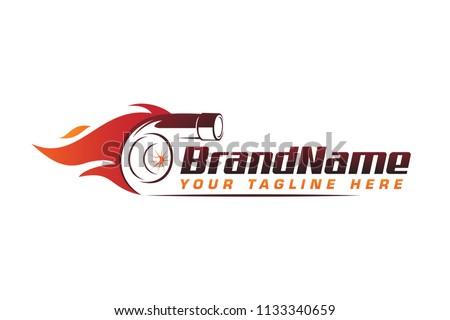 turbo fire performance auto logo. automotive logo design vector