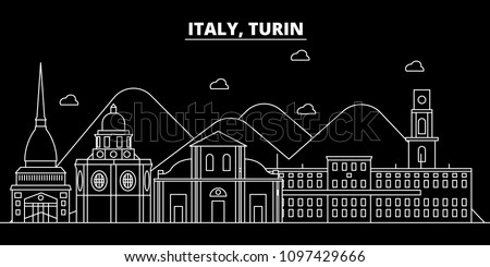 Turin silhouette skyline. Italy - Turin vector city, italian linear architecture, buildings. Turin travel illustration, outline landmarks. Italy flat icon, italian line banner