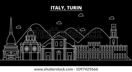 Turin silhouette skyline. Italy - Turin vector city, italian linear architecture, buildings. Turin travel illustration, outline landmarks. Italy flat icon, italian line banner