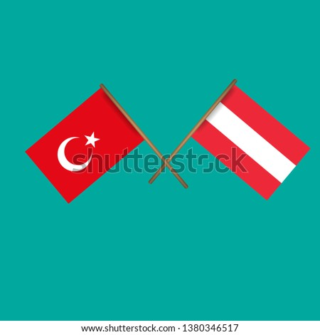 Turkey and Austria crossed flags.Language learning or travel concept