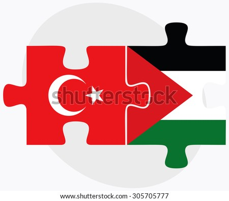 Turkey and Palestine Flags in puzzle isolated on white background