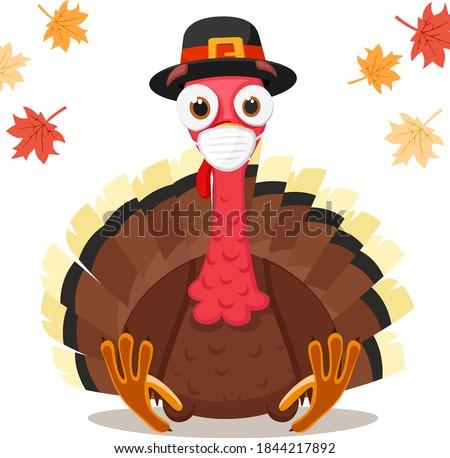Turkey bird in a medical mask, coronavirus concept. Thanksgiving Day Foto d'archivio ©