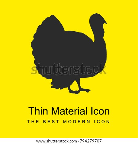 Turkey bird shape from side view bright yellow material minimal icon or logo design