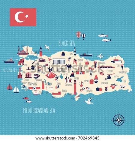Turkey cartoon travel map vector illustration, landmark Galata tower, Mount Nemrut, Anitkabir, Selimiye mosque, Izmir clock tower, library of Celsus