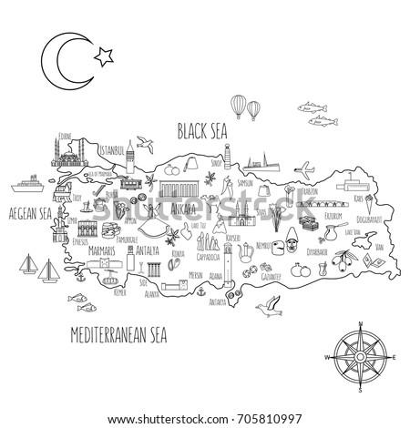 Turkey cartoon travel map vector illustration, landmark Galata tower, Mount Nemrut, Anitkabir, Selimiye mosque, Izmir clock tower, library of Celsus, turkish symbol Trojan horse, dervish, decor sign #705810997