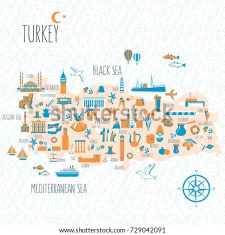 turkey cartoon travel map