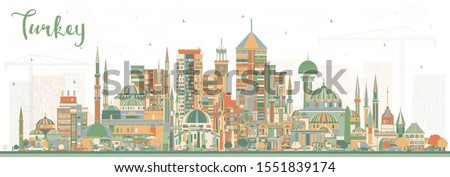 Turkey City Skyline with Color Buildings. Vector Illustration. Tourism Concept with Historic Architecture. Turkey Cityscape with Landmarks. Izmir. Ankara. Istanbul.