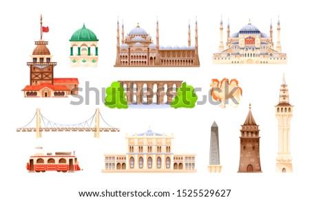 Turkey country buildings landmarks. Turkey vacation landmarks buildings, towers, transport, city bridge, mosque. Istanbul travel destinations. Travel concept for Asia cartoon vector illustration