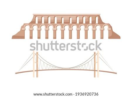 Turkey country landmarks. Famous landmark Bosphorus bridge in Istanbul. Bridge connecting Europe and Asia. Roman aqueduct major water-providing system of Eastern Roman capital of Constantinople vector Foto stock ©