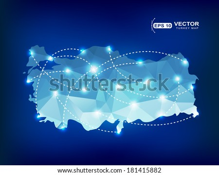 Turkey country map polygonal with spot lights places