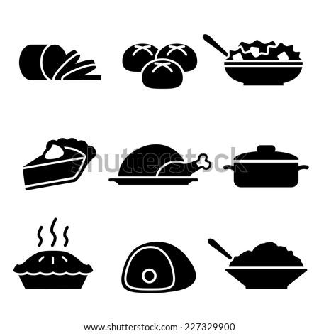 Stock Vector Turkey Dinner Icons