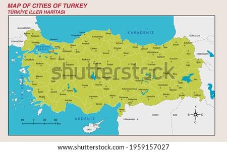 Turkey Economic Geography map - Turkey's population density, map, province, county map Stockfoto ©