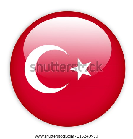 turkey flag button on white