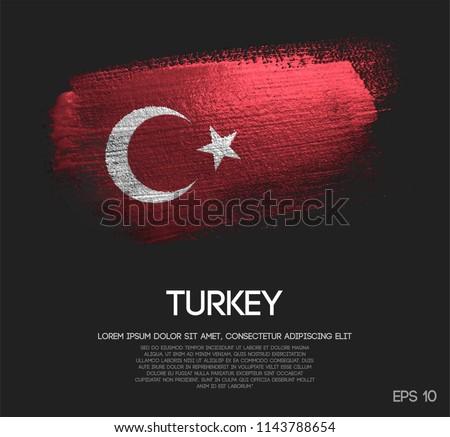 Turkey Flag Made of Glitter Sparkle Brush Paint Vector