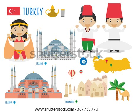 turkey flat icon set travel and