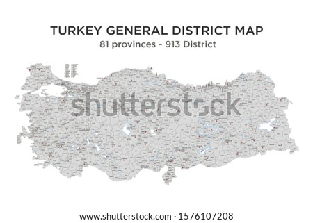 TURKEY General District Map, 81 Province - 913 District. Vector Illustration. Stok fotoğraf ©
