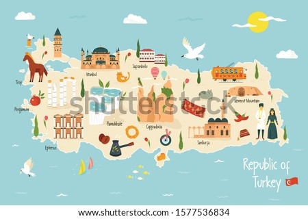 Turkey illustrated map with famous landmarks, symbols. For prints, tourist posters, travel guides, festivals