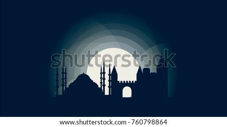 turkey istanbul blue night moon