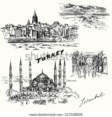 turkey  istanbul   hand drawn