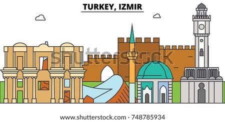 turkey  izmir outline skyline