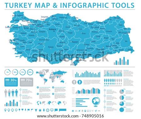 Turkey Map - Detailed Info Graphic Vector Illustration Stock fotó ©