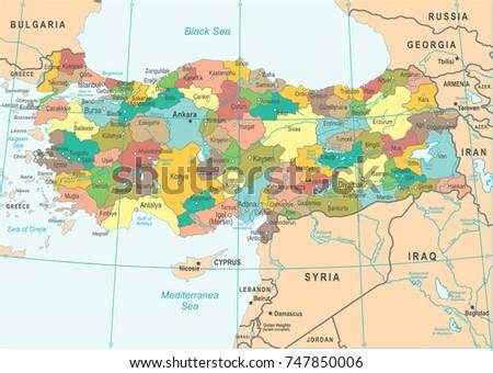 Turkey Map - Detailed Vector Illustration Stock fotó ©