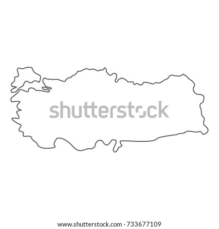 Turkey map icon. Vector thin line illustration of turkey map icon isolated on white background
