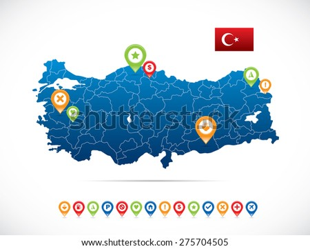 turkey map with flag and