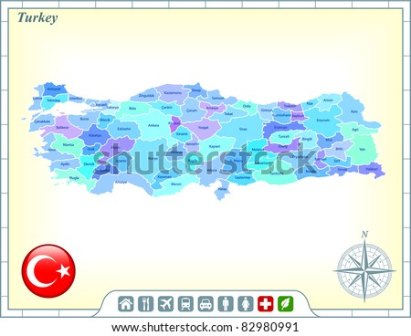 turkey map with flag buttons