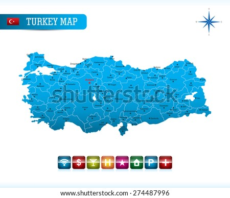 Turkey Map with Navigation Icons
