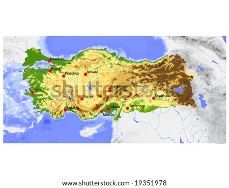 Turkey. Physical vector map, colored according to elevation, with ocean depths and selected cities. Surrounding territory greyed out. 59 layers, fully editable. Data source: NASA