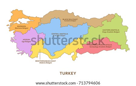 Turkey regions, vector geography background