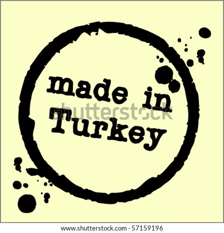 turkey rubber stamp - stock vector