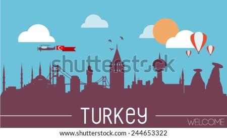 turkey skyline silhouette flat