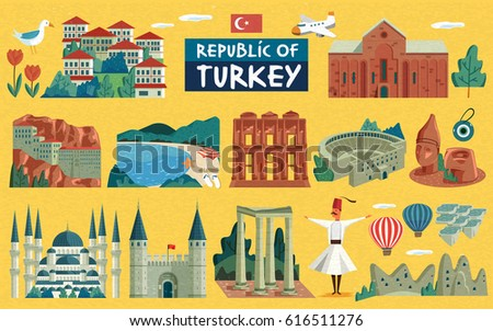 turkey travel illustration with