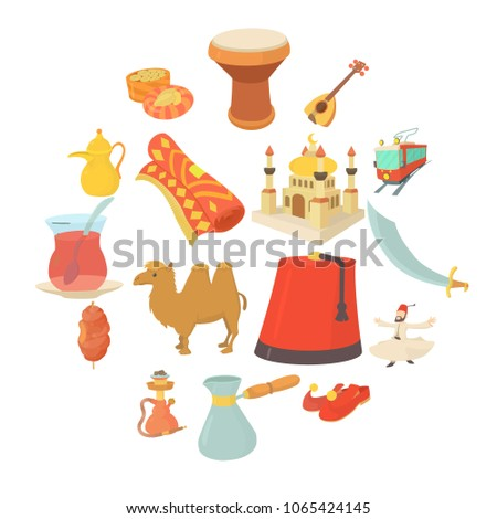 Turkey travel symbols icons set. Cartoon illustration of 16 Turkey travel symbols vector icons for web