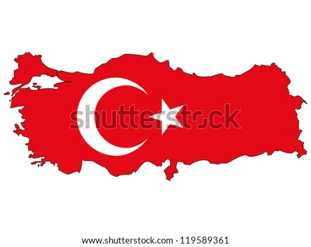 Turkey vector map with the flag inside.