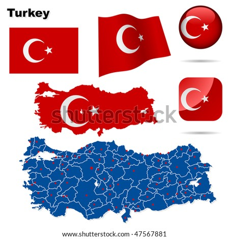Turkey vector set. Detailed country shape with region borders, flags and icons isolated on white background.