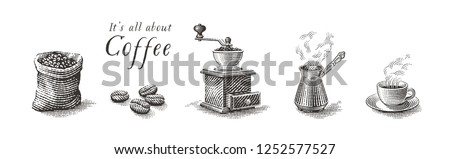 Turkish cezve pot, cup of hot drink, coffee beans, grinder and coffee sack bag. Coffee set. Hand drawn engraving vintage style illustrations.