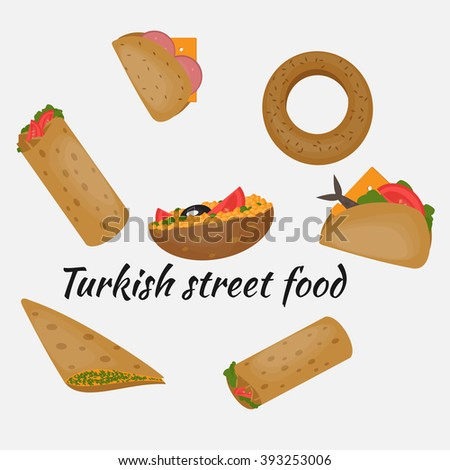 Turkish Fast food, Traditional mediterranean street food: Kumru, Semit, Kumpir, Doner, Turkish cuisine on white background isolated vector