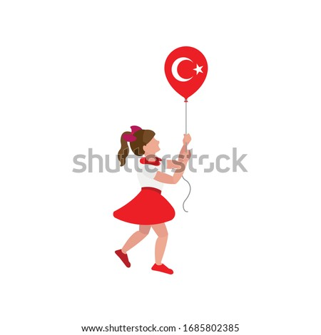 turkish flag balloon and girl