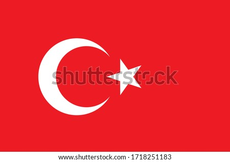 Turkish flag which includes a white crescent and a star on a red background that can be used for celebrating turkish national festivals
