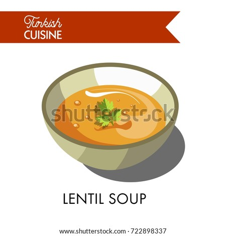 Turkish lentil soup with parsley in deep bowl
