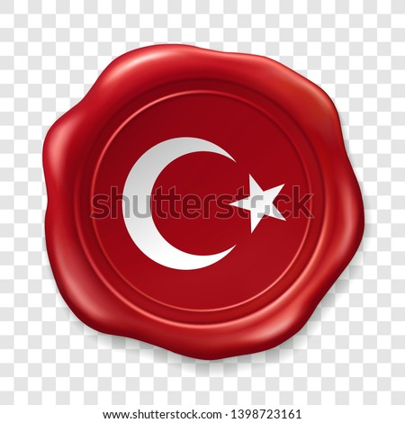 Turkish national flag with white star and moon. Glossy wax seal. Sealing wax old realistic stamp label on transparent background. Top view. Label. Vector illustration
