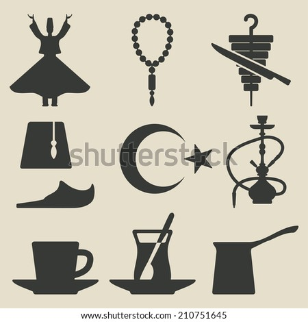 Turkish national icons set - vector illustration. eps 8
