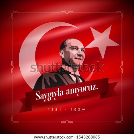 Turkish republic founder Mustafa Kemal Ataturk's Death Day anniversary. November 10,  Memorial day of Ataturk. Vector design template. Stok fotoğraf ©
